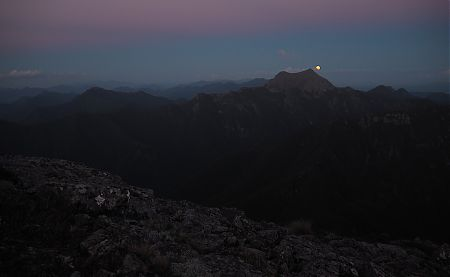 Full Moon rising over Mt Fishtail from Mt Fell. | Mt Richmond Forest Park  Circuit, April 2018