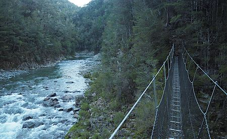 Two swingbridges over the Pelorus River branches at Roebuck Hut. | Mt Richmond Forest Park  Circuit, April 2018