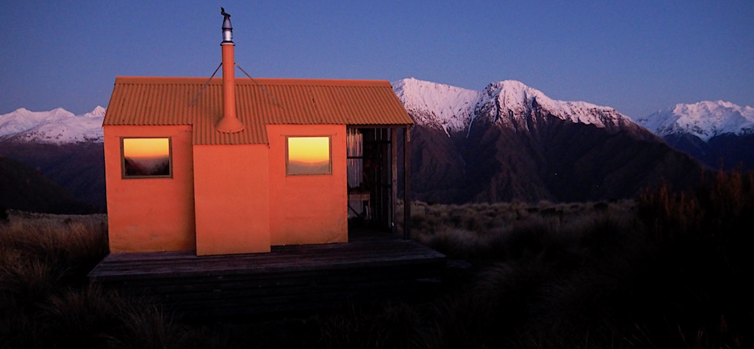Big mountains just to the south.   Mt Brown Hut , Lake Kaniere