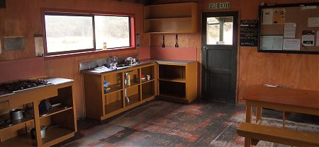 cooking area in Saxon Hut, Heaphy Track, Kahurangi National Park