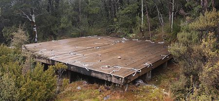tent platform, Saxon Hut camping area, Heaphy Track, Kahurangi National Park