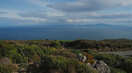 Fromt Bluff Hill looking over to Rakiura. I'll be walking from left to right along the coast soon enough. | Stewart Island/Rakiura August 2018