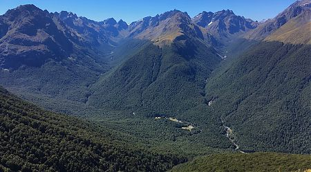 Looking down from near the Steele Creek saddle into the Caples River valley. Magnificant.   above the Caples Track, Mt Aspiring National Park