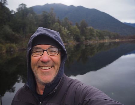 GJ on Sabine Hut jetty, Lake Rotoroa, morning Day 5 | Lake Angelus, July 2019