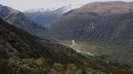 Grassy Flat and Styx River and Saddle from the climb to Newton Range Bivvy.   Arahura/Styx blog, December 2019