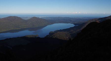 Lake Kaniere, Hokitika, Tasman Sea from Mt Brown Hut.   Arahura/Styx blog, December 2019