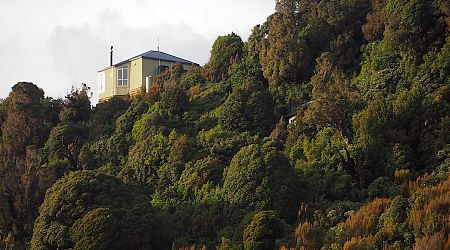 Ces Clarke Hut is located on a ridge with extensive views. | Ces Clarke Hut, Paparoa Great Walk