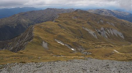 The long ridge at the Nardoo Basin looking to Point 1916 from Emily Peaks.  | Nardoo Basin, Nelson Lakes National Park