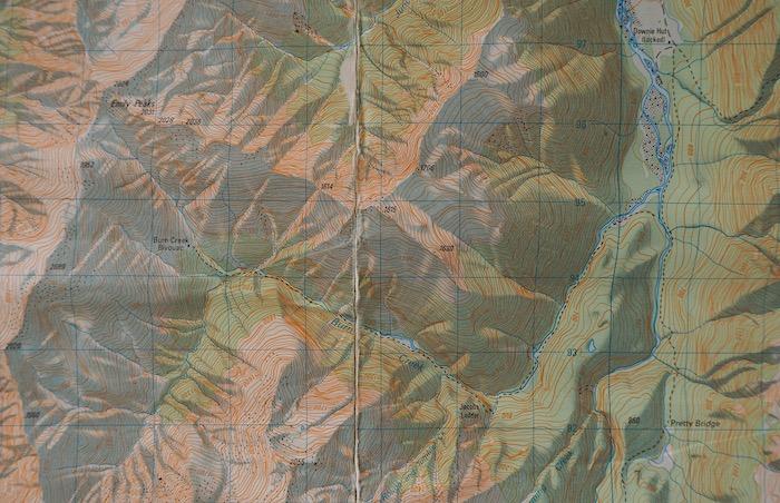 Burn Creek map, NZFS 1986.  | Burn Creek, Nelson Lakes National Park