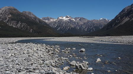 Crossing the mighty Waimakariri River near Anti Crow Hut. | Day 7 Arthurs Pass tramp, February 2021