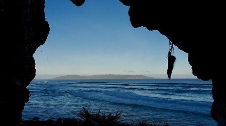 Codfish Island from cave at West Ruggedy Beach. | Northwest Circuit, Rakiura National Park