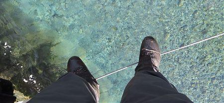 three wire bridge trick | East Mataki River, Nelson Lakes National Park